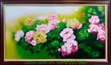Tranh sơn dầu phong thủy hoa mẫu đơn TSD191