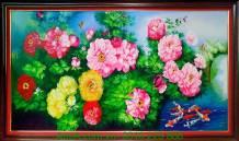 Tranh hoa mẫu đơn cá chép vẽ sơn dầu TSD152-01