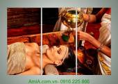 Tranh spa chăm sóc da ghép bộ 3 tấm AmiA 968