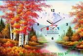 Mẫu tranh lịch tết đồng hồ phong cảnh mùa thu AmiA TL01