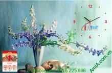 Tranh đồng hồ trang trí lịch tết bình hoa AmiA TL07
