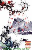 Đồng hồ tranh treo tường lịch Tết sơn thủy AmiA TL09
