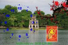 Tranh đồng hồ lịch tết phong cảnh hồ gươm AmiA TL11