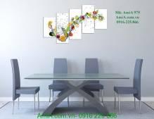 Tranh đồng hồ hoa quả trang trí phòng ăn AmiA 975