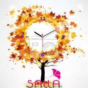 Tranh đồng hồ cây mùa thu Amia DH018