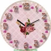 Đồng hồ tranh treo tường phong cách Vintage hoa hồng Amia DH023