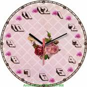 Đồng hồ tranh treo tường hoa hồng phong cách Vintage  số nghiêng Amia DH024
