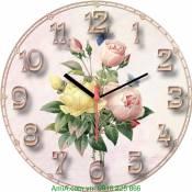 Đồng hồ tranh treo tường cụm hoa hồng Amia DH027
