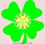 Đồng hồ tranh treo tường cỏ 4 lá may mắn Amia DH030