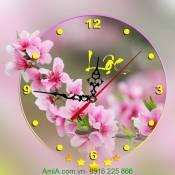 Đồng hồ tranh hoa đào treo tường đầu Xuân DH31