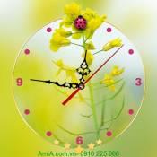 Tranh đồng hồ treo tường nhành hoa vàng AmiA DH34