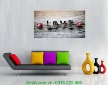 Tranh tình yêu hoa hồng chữ Love một tấm AmiA 982