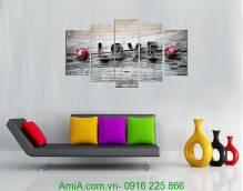 Tranh tình yêu chữ Love ghép bộ 5 tấm AmiA 983