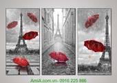 Tranh ghép bộ 3 tấm cảnh đẹp thế giới tháp Eiffel AmiA 1009