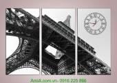Tranh đồng hồ tháp Eiffel ghép bộ 3 tấm AmiA 1010