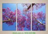 Tranh phong cảnh đẹp hoa anh đào nhật bản AmiA 1012