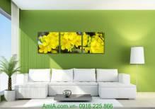 Tranh Tết hoa mai vàng ghép bộ 3 tấm AmiA 1014