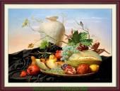 Tranh treo phòng ăn in giả sơn dầu hoa quả AmiA 1022