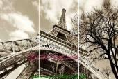 Tranh tháp Eiffel đen trắng ghép bộ 3 tấm AmiA 1030