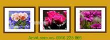 Bộ khung tranh hoa lá 3 tấm trang trí nội thất AmiA 2006