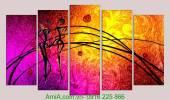 Tranh nghệ thuật đa sắc trừu tượng bộ 5 tấm AmiA 1050
