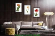 Bộ 3 tranh hoa lá nghệ thuật trang trí AmiA 1084