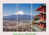 Tranh núi phú sỹ nhật bản ghép bộ 3 tấm AmiA 2008