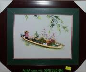 Tranh thêu tay cao cấp cô gái bán hoa AmiA TTH 139