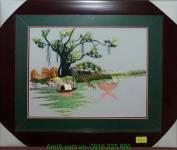 Tranh phong cảnh thôn quê thêu tay cao cấp AmiA TTH 141