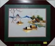 Tranh bến sông quê thêu tay cao cấp AmiA TTH 144