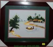 Tranh thêu phong cảnh làng quê chở đò AmiA TTH 145