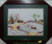 Tranh thêu khung cảnh đẹp miền Tây cây cầu dừa AmiA TTH 146
