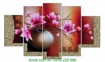 Tranh bình hoa sen đất in ép gỗ hiện đại AmiA 1086