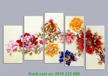 Tranh hoa mẫu đơn in ép gỗ bộ 5 tấm AmiA 1090