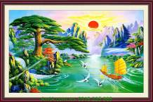 Tranh thuận buồm xuôi gió treo tường ngày Tết AmiA 1093