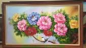 Tranh hoa mẫu đơn và đôi chim vẽ sơn dầu AmiA TSD 198