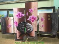 Tranh bình hoa mộc lan sơn dầu 4 tấm AmiA TSD 201