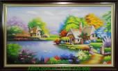 Tranh sơn dầu ngôi nhà hạnh phúc khổ lớn TSD 140