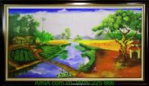 Tranh sơn dầu con sông quê hương khổ lớn 1m6 TSD 141