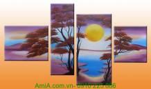 Mẫu tranh sơn dầu phong cảnh đẹp: Ánh trăng TSD 211