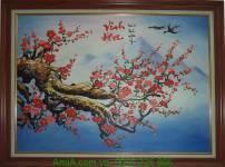 Bức tranh sơn dầu cành đào vinh hoa TSD 213