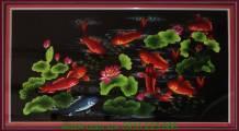 Mẫu tranh thêu tay cao cấp: Cửu ngư quần hội khổ lớn TTH 150