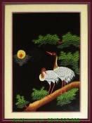 Tranh thêu tay cao cấp: Đôi chim hạc trắng TTH 151