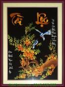 Mẫu tranh hoa đào tài lộc nền đen thêu tay TTH 153