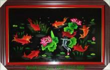 Tranh thêu cao cấp: Cá chép hoa sen TTH 154