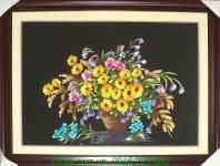 Tranh thêu tay cao cấp: Giỏ hoa cúc TTH 156