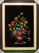 Tranh thêu tay cao cấp: Giỏ hoa hồng TTH 161