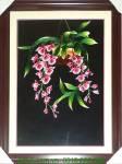 Tranh thêu tay cao cấp: Giỏ lan hồng AmiA TTH 162