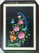Tranh thêu tay cao cấp: Đôi công hoa cúc TTH 163