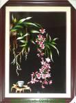 Tranh thêu tay cao cấp: Lan cốc màu hồng TTH 164